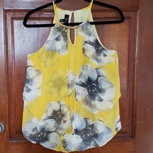 BCX Yellow Sleeveless Floral Flowy Blouse